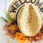 faux flowers on cowboy hat wreath