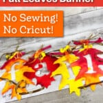 homemade fall leaves banner using dollar store supplies