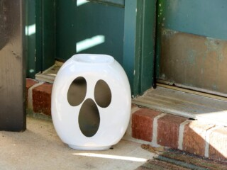 tide pod container ghost on front porch