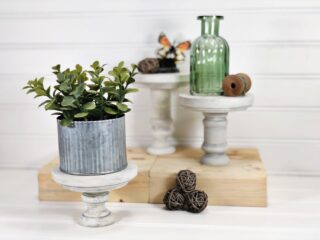 diy rustic farmhouse wood pedestals for tiered trays
