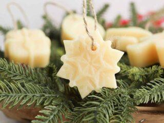 snowflake beeswax Christmas ornament