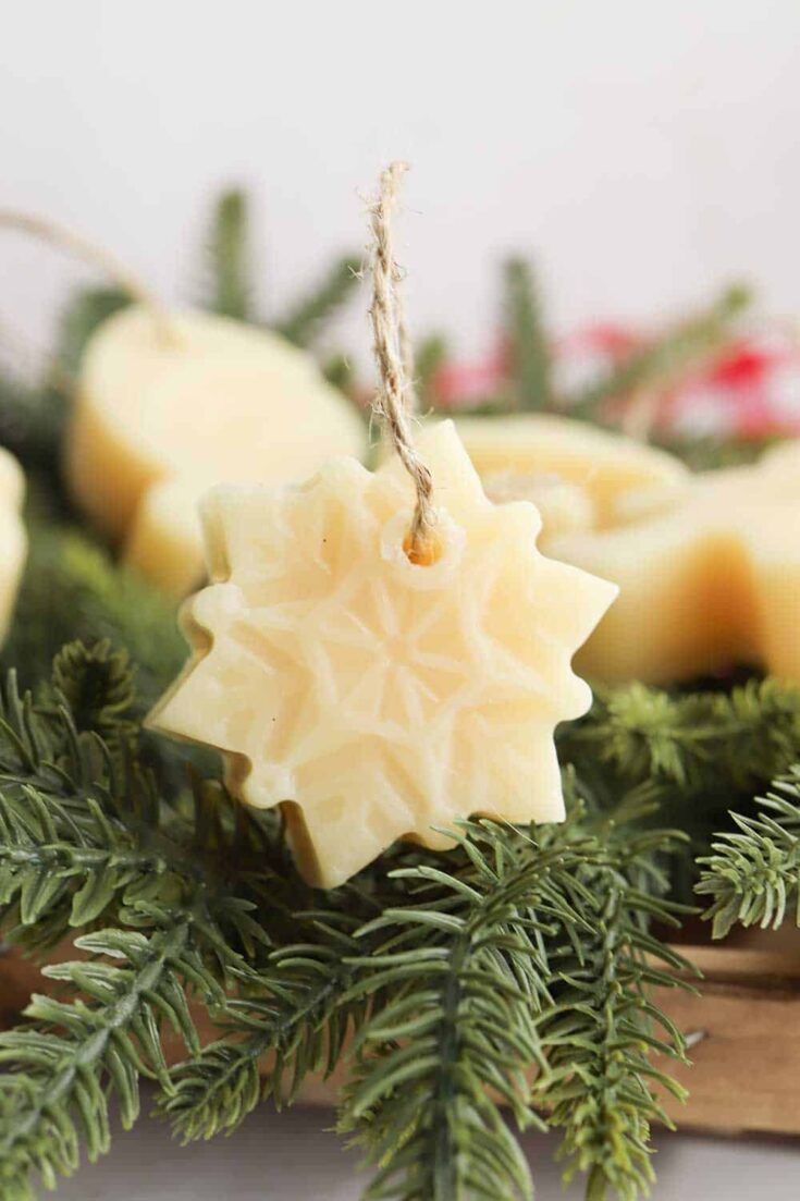snowflake ornament made out of beeswax